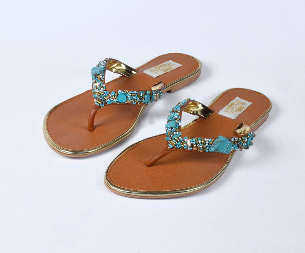 Turquosie Mix Beaded V Strap Flats