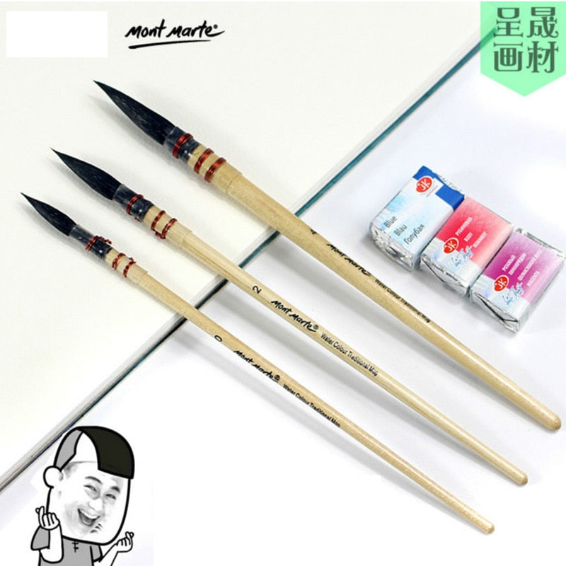 watercolor pen horse hair round peak squirrel hair watercolor brush national brush wooden mop pen