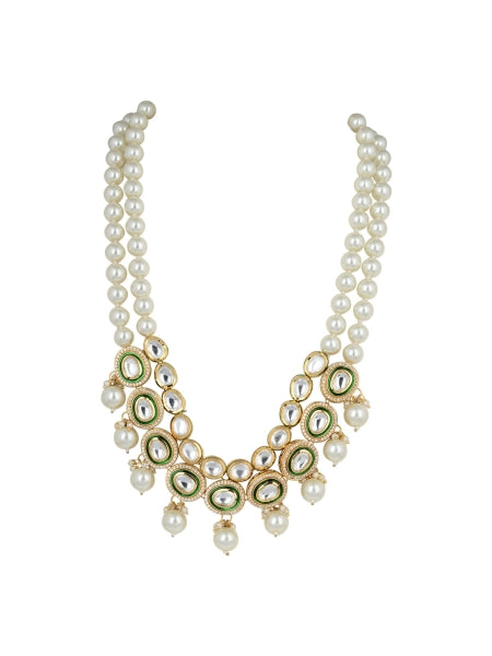 White And Gold Polki Necklace With Pearl Drops