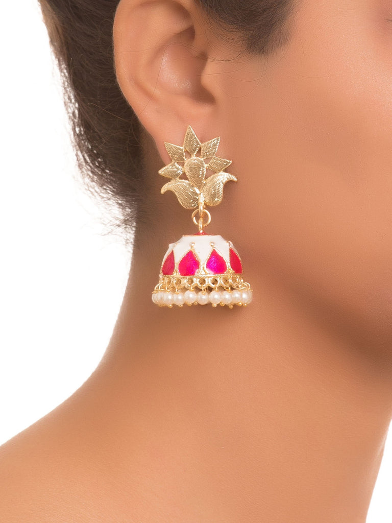 White And Pink Pearl Work Jhumkas