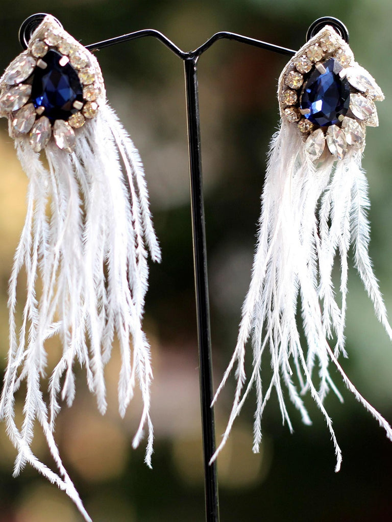 White Feather Blue Stone Earrings