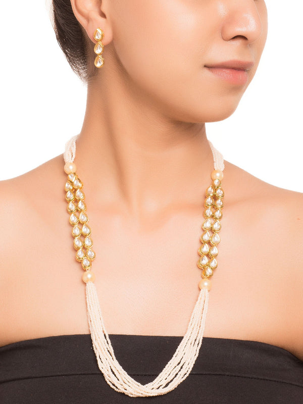 White Kundan And Pearl JewellerySet