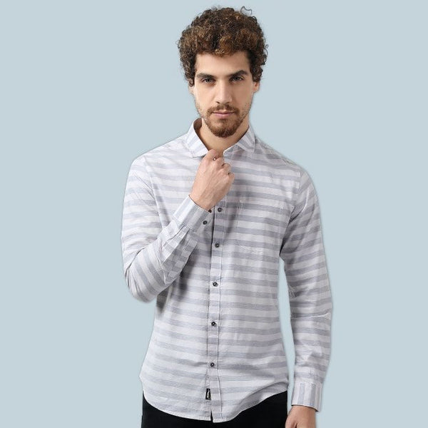 White & Grey Stripped Casual Shirt
