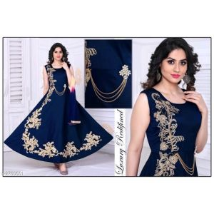 Attractive Designer Soft Taffeta Silk Women Gowns
