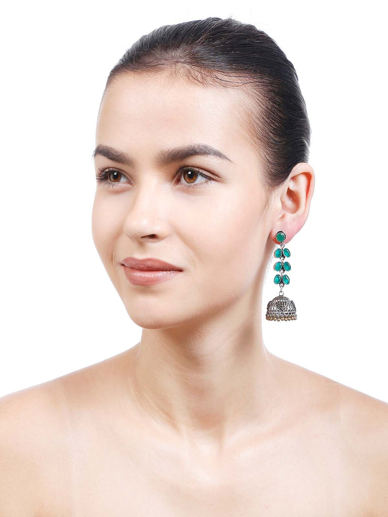Women Fashion Jewellery Alloy With Artificial Stones Green Color Earring