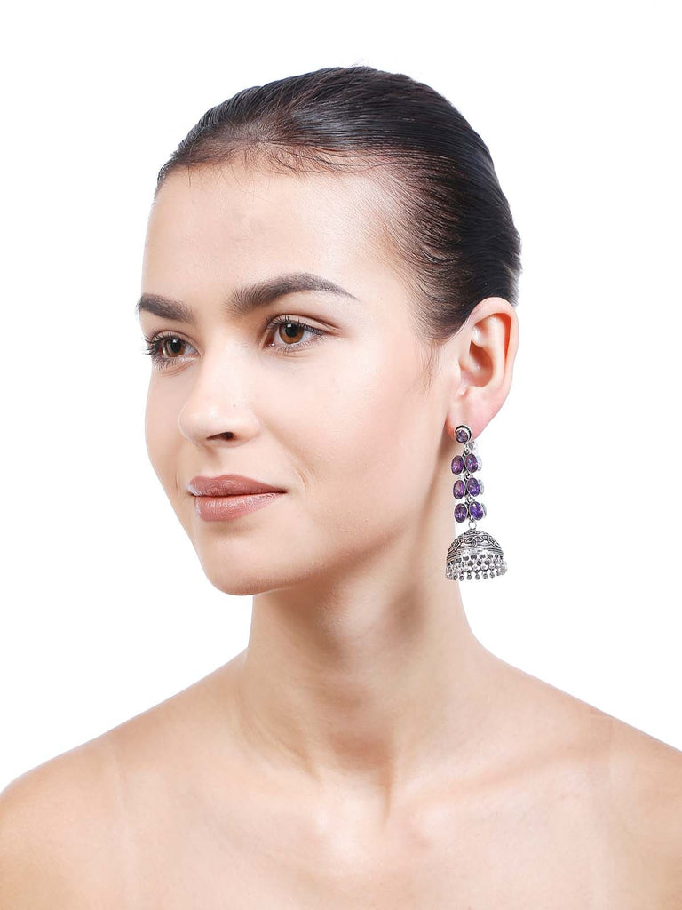 Women Fashion Jewellery Alloy With Artificial Stones Purple Color Earring