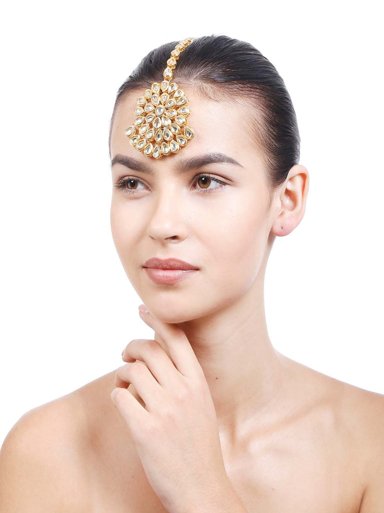 أزياء نسائية مجوهرات Kundan Maang Tika Gold Color Head Head Accessory