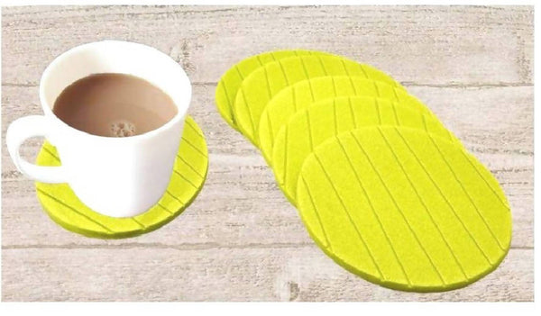 RSTC Tea Coaster Pack of 6 PC (Green, Round)