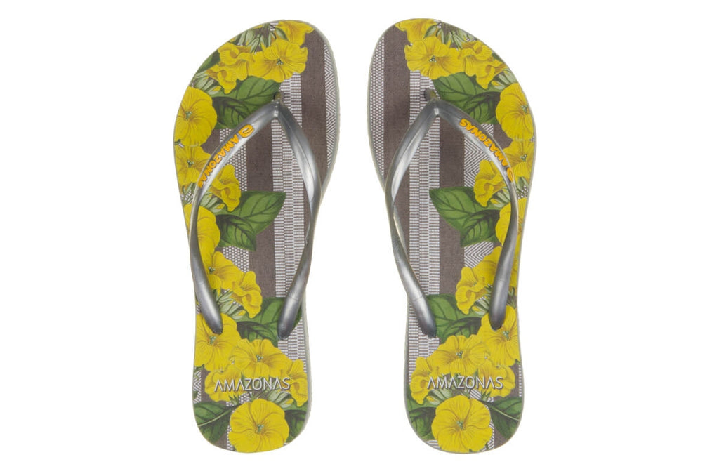 Yellow And Silver Enjoy Flip Flops