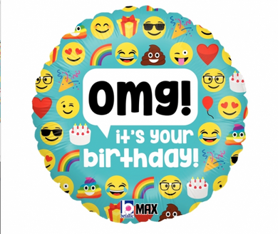 Emoji OMG Birthday Foil Balloon