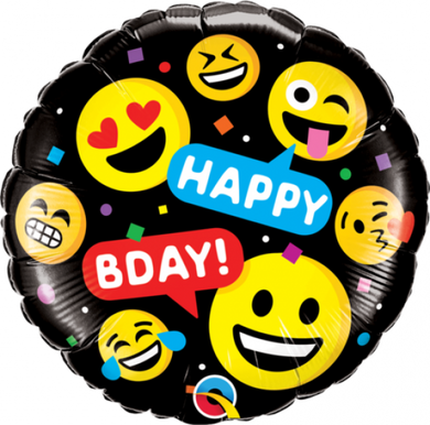Smiles Happy Bday! Emoji Foil Balloon