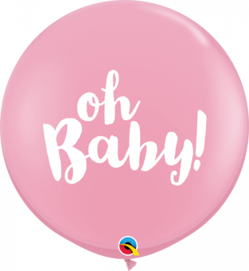Oh Baby Pink Latex Balloon 90cm