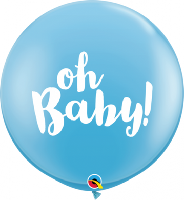 Oh Baby Blue Latex Balloon 90cm