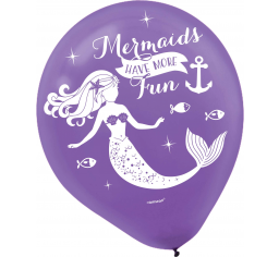 Mermaid Latex Balloons Pk 6