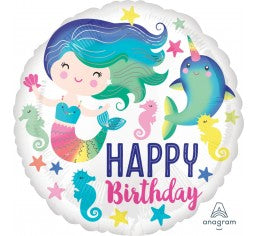 Mermaid Happy Birthday Foil Balloon 18''