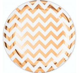 Rose Gold Stripe Paper Plate 10pk 7''
