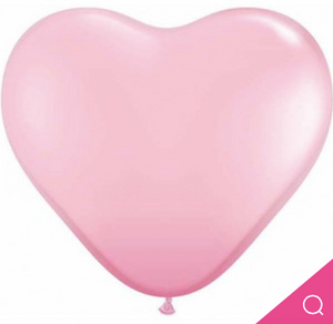 Heart Latex Baby Pink Balloon 38cm Pk5