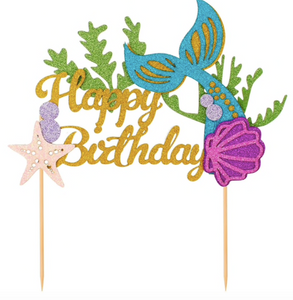 Mermaid Happy Birthday Cake Topper
