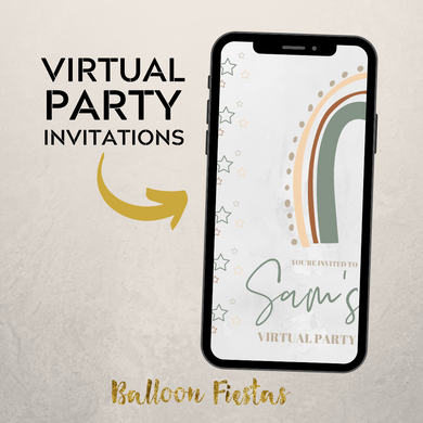 Rustic Rainbow Virtual Party Invitation