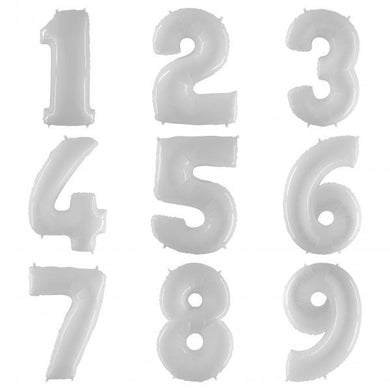 Helium Filled Foil WHITE Number (100cm)