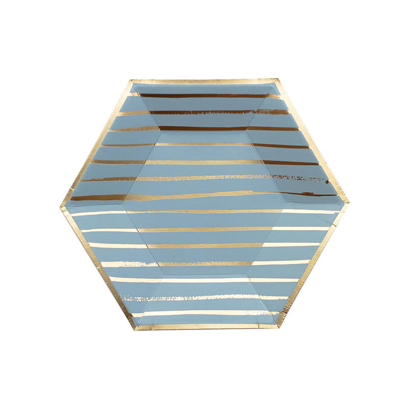 Blue and Gold Stripe Plate 8pk