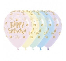 Happy Birthday Pastel Rainbow Latex Balloons