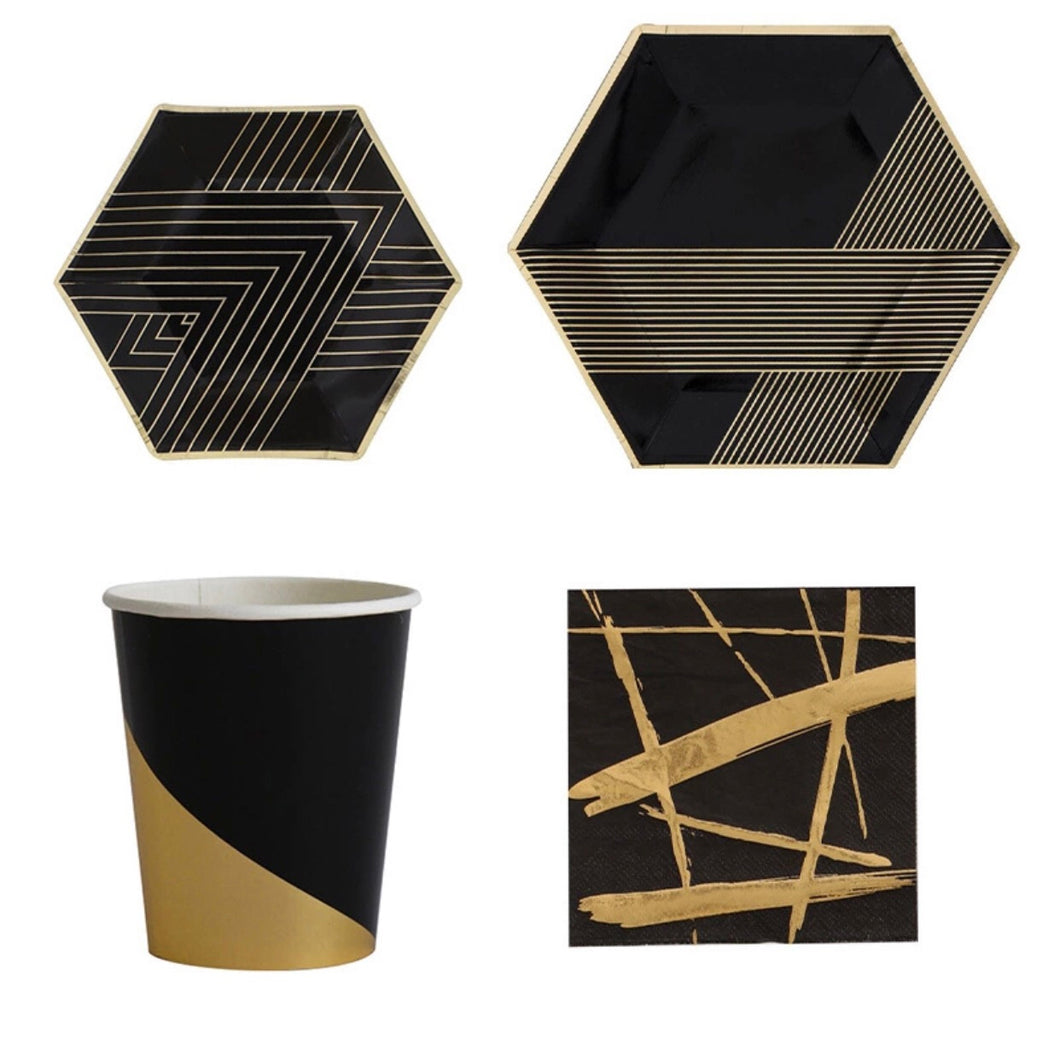 Black & Gold Partyware Kit