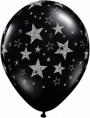Star Black Glitter Latex Balloon 28cm