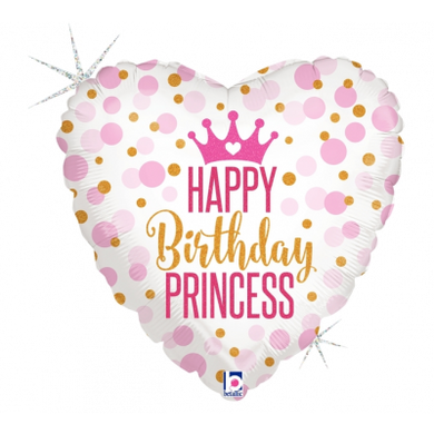 Happy Birthday Princess Heart Foil Balloon