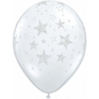 Star Clear Glitter Latex Balloon 28cm