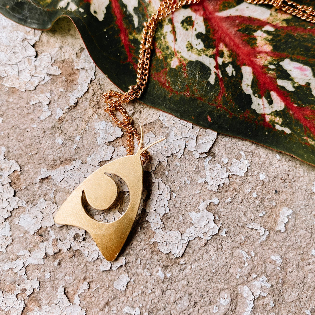 Moon Moth Necklace - Opal and Gold Collab - PREORDER