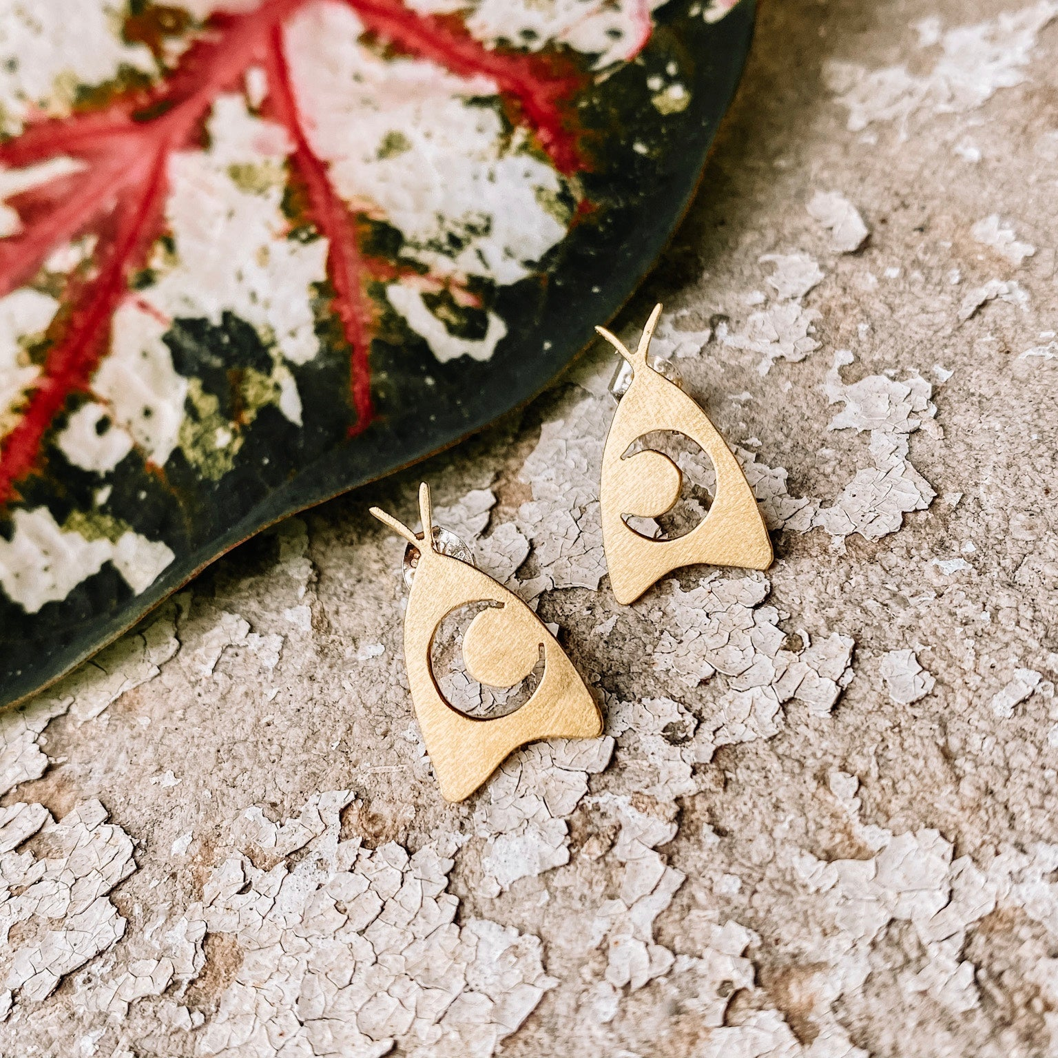 Moon Moth Earrings - Opal and Gold Collab - PREORDER