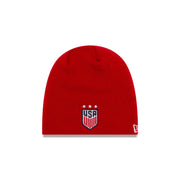 U.S. SOCCER NEW ERA TOQUE 3-STAR KNIT BEANIE - RED