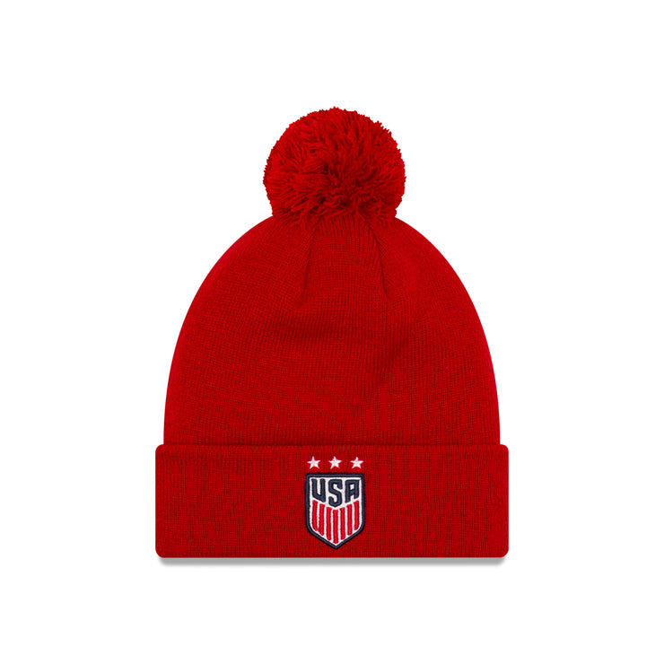 U.S. SOCCER NEW ERA SOLID POM CUFF 3-STAR KNIT - RED
