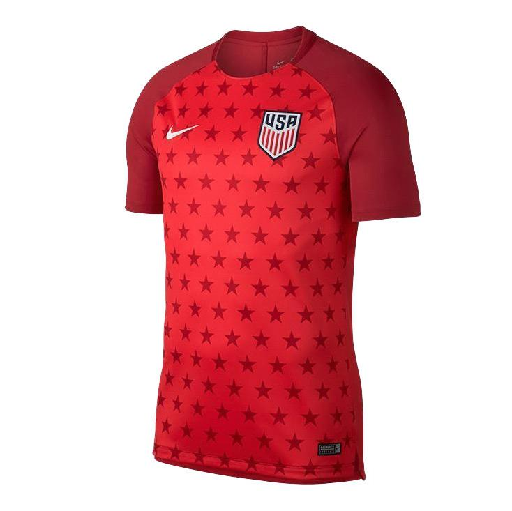 U.S. SOCCER YOUTH NIKE USA SQUAD PRE MATCH TOP SPEED RED