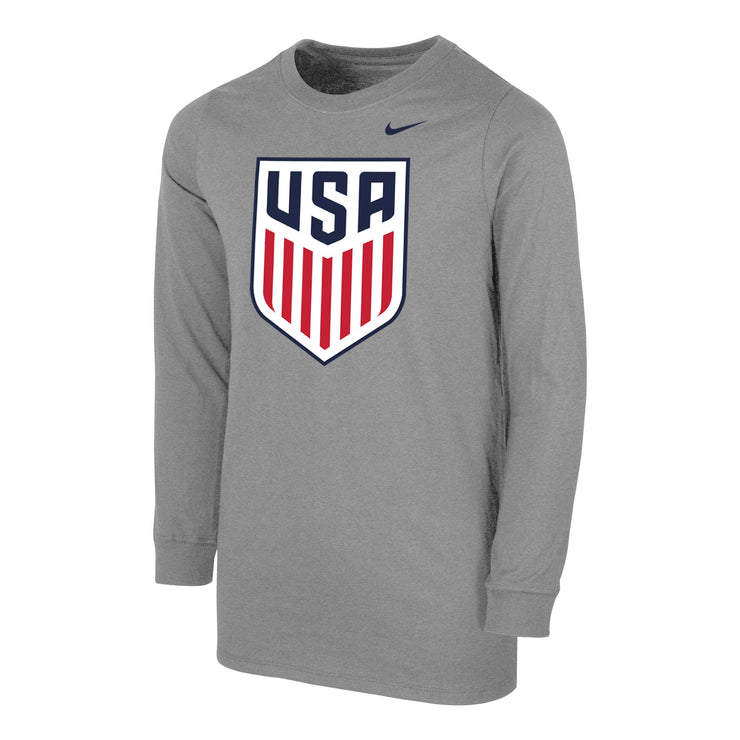 U.S. SOCCER YOUTH NIKE US SOCCER CORE COTTON LONG SLEEVE TEE - GRAY