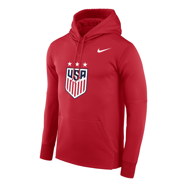 MEN'S NIKE USWNT 3 STAR CREST THERMA POLY HOODY - RED