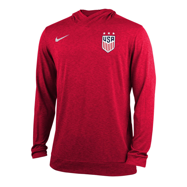 MEN'S NIKE USWNT 3-STAR DRY TOP LONG SLEEVE HOODY - HEATHER RED