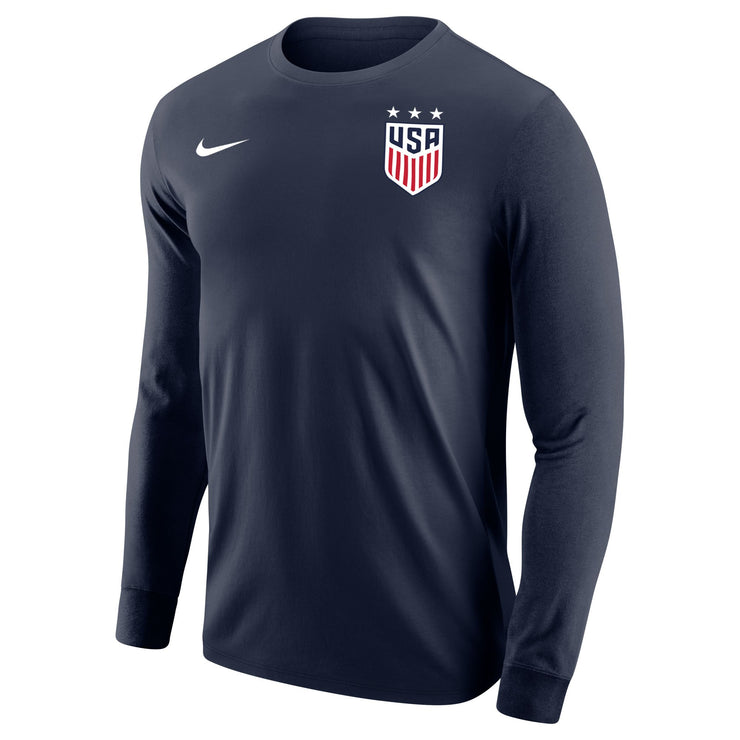 MEN'S USWNT NIKE 3-STAR CORE COTTON LONG SLEEVE TEE - NAVY
