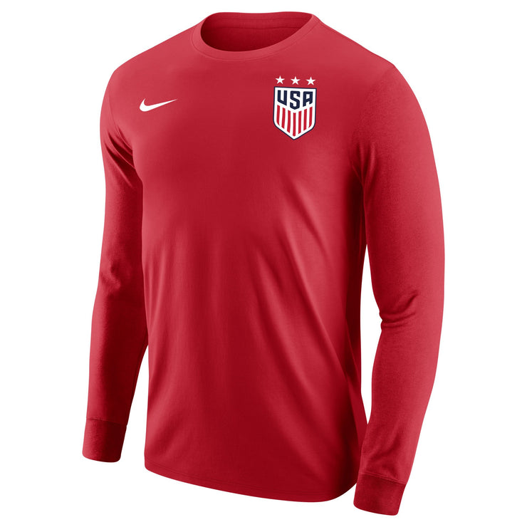 MEN'S USWNT NIKE 3-STAR CORE COTTON LONG SLEEVE TEE - RED