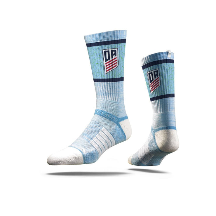 U.S. SOCCER STRIDELINE DEVELOPMENT ACADEMY PREMIUM ATHLETIC CREW SOCKS - SKY BLUE