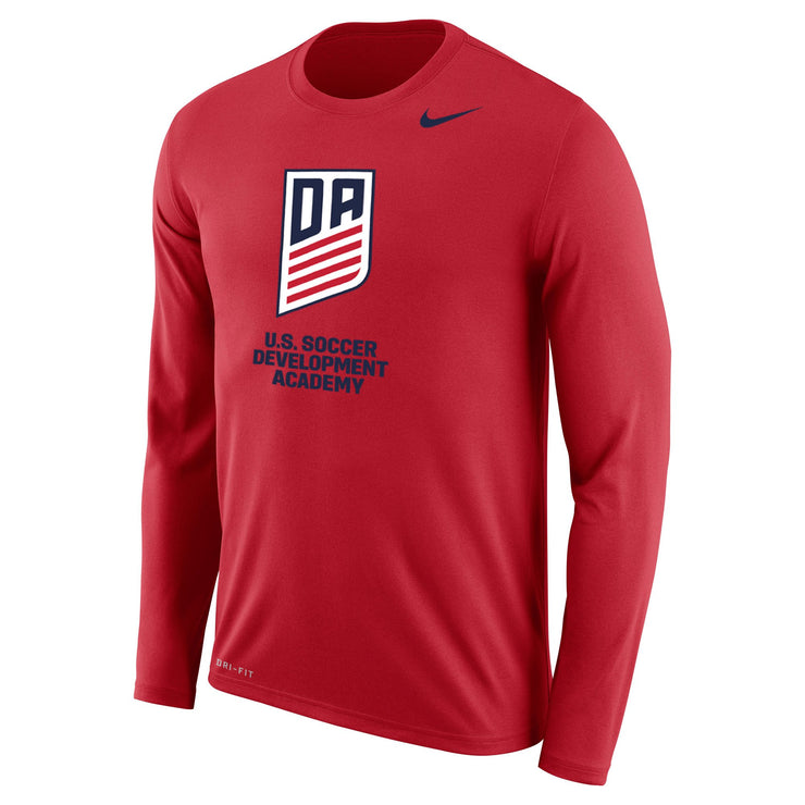 U.S. SOCCER NIKE DEVELOPMENT ACADEMY VERTICAL LOGO DRI-FIT LEGEND LS TEE - U. RED