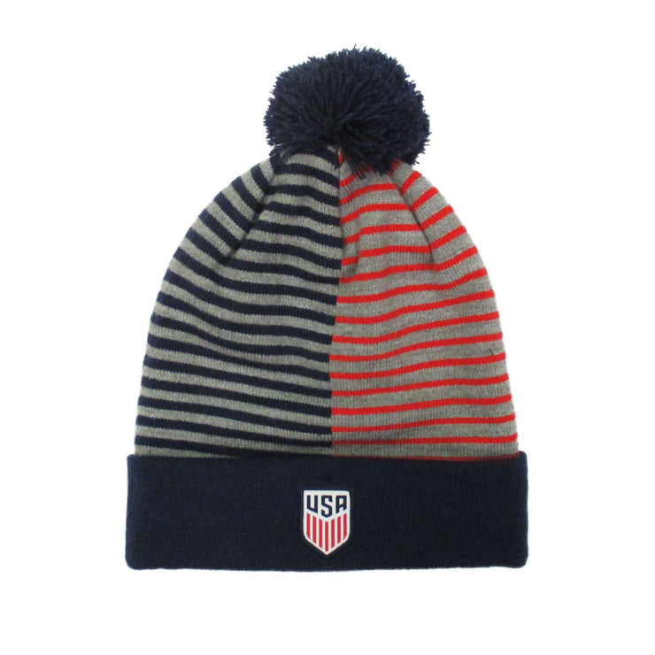 U.S. SOCCER NIKE STRIPE KNIT NAVY/RED BEANIE