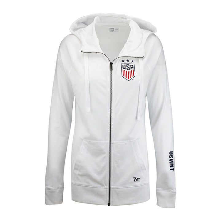 Women's New Era Sueded Cotton Full Zip Hoodie - White