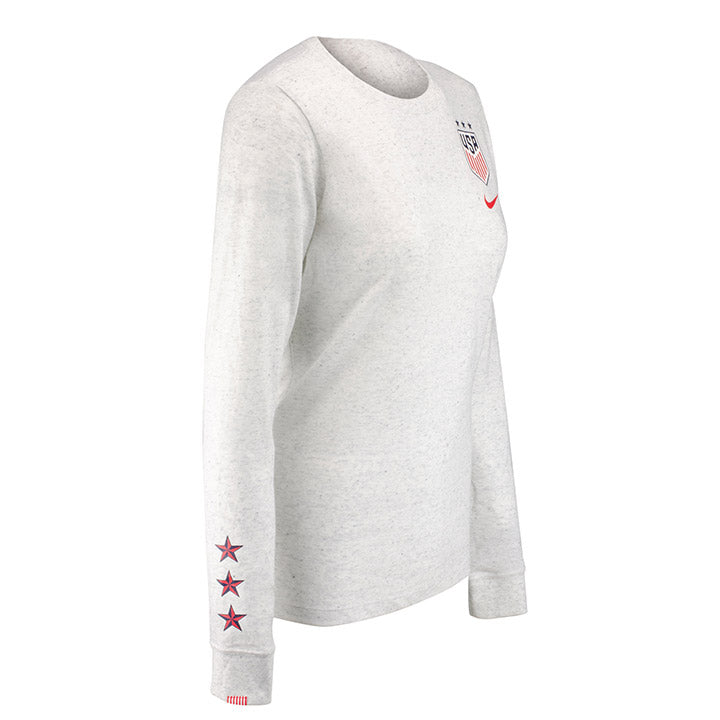 WOMEN'S NIKE USA LS TRAVEL TEE - BIRCH HEATHER