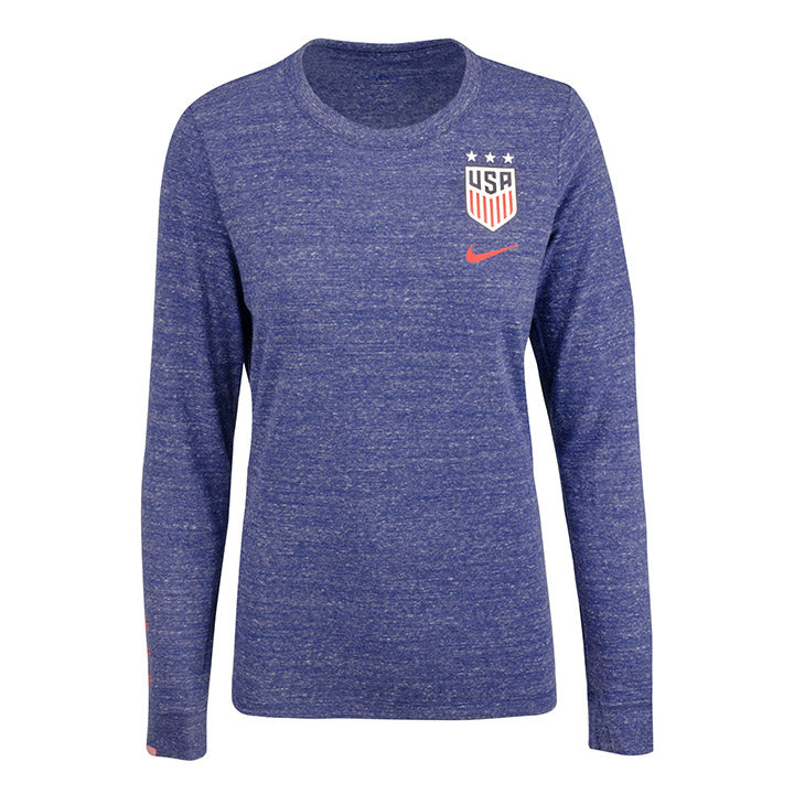 WOMEN'S NIKE USA LS TRAVEL TEE - BLUE VOID