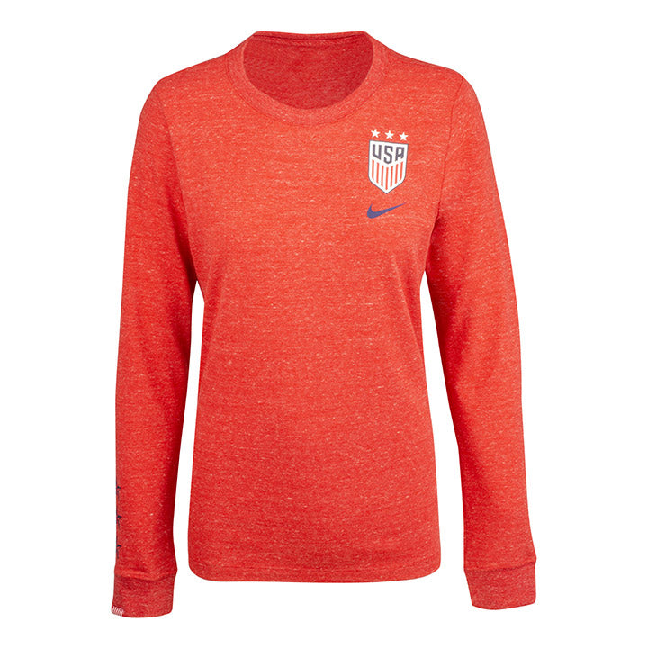 WOMEN'S NIKE USA LS TRAVEL TEE - UNIVERSITY RED