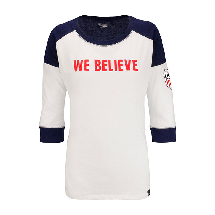 WOMEN'S 5TH & OCEAN WE BELIEVE HERITAGE RAGLAN TEE