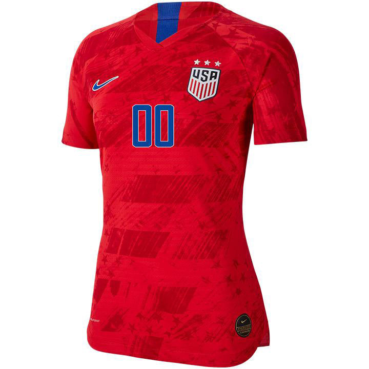 PERSONALIZED WOMEN'S USA NIKE 3-STAR VAPOR MATCH AWAY JERSEY - RED