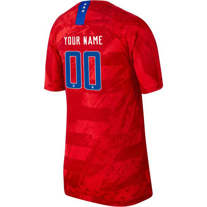 PERSONALIZED MEN'S NIKE USA WNT BREATHE 4-STAR STADIUM RED AWAY JERSEY